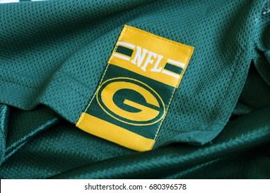 ZAGREB, CROATIA - JULY 19, 2017. - NFL team Green Bay Packers emblem on jersey.