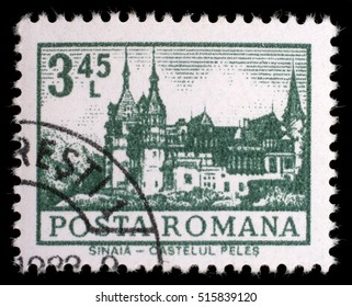 ZAGREB, CROATIA - JULY 19: A stamp printed in Romania shows Peles Castle, Sinaia, circa 1972, on July 19, 2012, Zagreb, Croatia