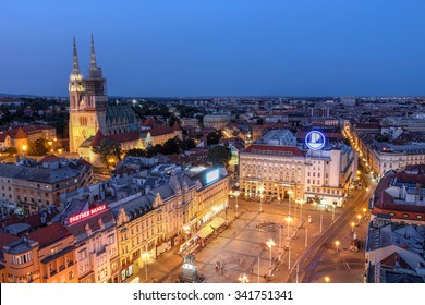 ZAGREB, CROATIA - July 20: Aerial view of Zagreb skyline with the Ban Jelacic Square and the city's Cathedral in Croatia as seen from the observation deck of Neboder tower on July 20, 2015.