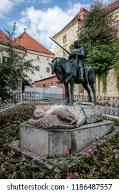 Zagreb, Croatia, July 22, 2018: Equestrian Statue of St. George and the Dragon in Zagreb, Croatia, sculpted by Austrian sculptors Kompatscher and Winder in 1937.