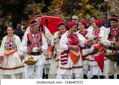 Zagreb, Croatia, July 22, 2018: Croatians in national costumes celebrating the 52nd International Folklore Festival in Zagreb, Croatia