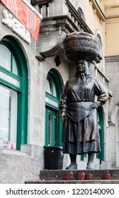 """Zagreb, Croatia, July 22, 2018: Bronze statue of a peasant market woman called """"Kumica Barica"""" at Dolac market, the biggest and most famous farmers market in Zagreb, Croatia"""