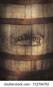 ZAGREB, CROATIA, JULY 25, 2017:  Old wooden barrel with burned logo of Jack Daniel's whiskey