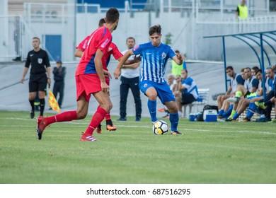 ZAGREB, CROATIA - JULY 28, 2017:  Croatian First Football League game between NK Lokomotiva VS NK Rudes. Luka IVANUSEC (7) in action