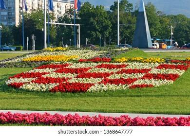 ZAGREB, CROATIA – JULY 4,  2014: Croatian coat of arms and Zagreb crest made of flowers, Zagreb, Croatia