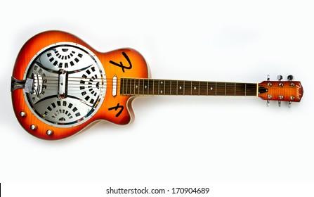 ZAGREB , CROATIA - JUN 10, 2010 : old fender dobro slide guitar on white background , product shot