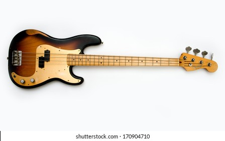 ZAGREB , CROATIA - JUN 10, 2010 : old vintage wooden Fender precision bass guitar on white background , product shot