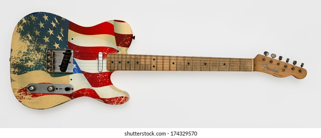 ZAGREB , CROATIA - JUN 10, 2010 : fender telecaster with painted usa flag , product shot
