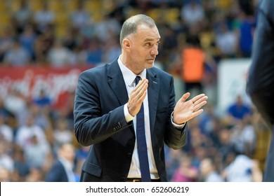 ZAGREB, CROATIA - JUNE 01, 2017: Croatian Basketball championship finals Cibona Zagreb vs. Cedevita. Cedevita coach MRSIC Veljko (COACH)