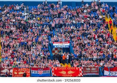 ZAGREB, CROATIA - JUNE 07, 2014: FIFA World Cup Brazil 2014 Preliminaries - Croatia VS Scotland. Croatian supporters on east stand.