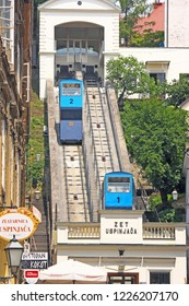 ZAGREB, CROATIA - JUNE 1, 2011: Zagreb Funicular, connecting the Ilica street with Strossmayer promenade, the funicular was built in 1890