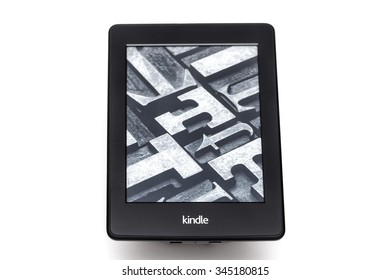 ZAGREB, CROATIA - JUNE 12, 2015: eBook reader Kindle 4 on white background.
