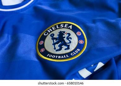 ZAGREB, CROATIA - JUNE 12, 2017. - English football club Chelsea FC emblem on football jersey.
