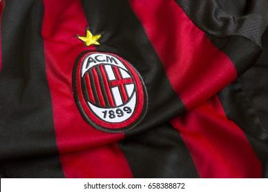 ZAGREB, CROATIA - JUNE 12, 2017. - Italian football club AC Milan emblem on football jersey.