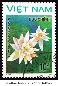 ZAGREB, CROATIA - JUNE 12, 2019: a stamp printed in Vietnam shows water lily, nymphaea pubescens, is a flowering plant, circa 1988