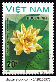 ZAGREB, CROATIA - JUNE 12, 2019: a stamp printed in Vietnam shows water lily, nymphaea gigantea, is a flowering plant, circa 1988