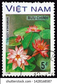 ZAGREB, CROATIA - JUNE 12, 2019: a stamp printed in Vietnam shows water lily, nymphaea lotus, is a flowering plant, circa 1988