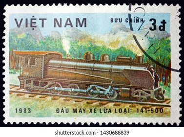 ZAGREB, CROATIA - JUNE 12, 2019: a stamp printed in Vietnam shows locomotive class 141-500, circa 1983