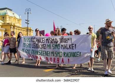 ZAGREB, CROATIA - JUNE 13, 2015: Zagreb's gay pride participants on street in front of Croatian National Theater.