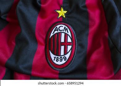 ZAGREB, CROATIA - JUNE 13, 2017. - Italian football club AC Milan emblem on football jersey.