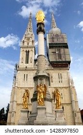 Zagreb, Croatia - June 15, 2019: Cathedral of the Assumption of the Blessed Virgin Mary and Mary column, landmarks in Zagreb, Croatia.