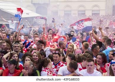 ZAGREB, CROATIA - JUNE 17 Croatian football fans on the Ban Jelacic Square, watching EURO 2016 match Czech Republic vs Croatia on June 17, 2016 in Zagreb, Croatia
