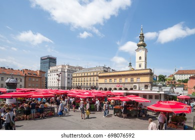 ZAGREB, CROATIA - JUNE 17: Dolac the central Farmers market on June 17, 2017 in Zagreb, Croatia. The famous Dolac-Market exists since 1926.