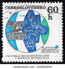 ZAGREB, CROATIA - JUNE 2, 2019: a stamp printed in Czechoslovakia shows Molniya meteorological satelite, circa 1970