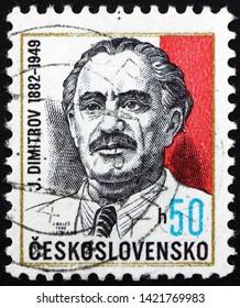ZAGREB, CROATIA - JUNE 2, 2019: a stamp printed in Czechoslovakia shows Georgi Dimitrov (1882-1949), was a Bulgarian communist politician, and the first communist leader of Bulgaria,  circa 1982