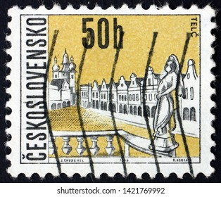 ZAGREB, CROATIA - JUNE 2, 2019: a stamp printed in Czechoslovakia shows Telc, is a town in southern Moravia, in the Czech Republic, view of town, circa 1966