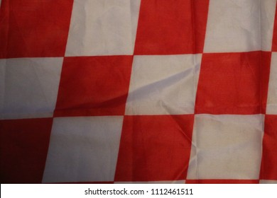 ZAGREB, CROATIA - JUNE, 2018: Red checkered flag. Croatia soccer fans flag.