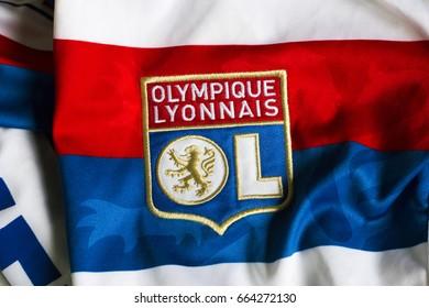 ZAGREB, CROATIA - JUNE 21, 2017. - French football club Olympique Lyonnais emblem on jersey.