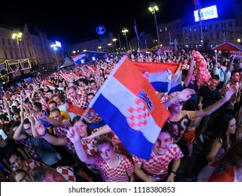 ZAGREB, CROATIA - JUNE 21 Croatian football fans on the Ban Jelacic Square, watching 2018 FIFA WORLD CUP RUSSIA match Argentina vs Croatia on June 21, 2018 in Zagreb, Croatia