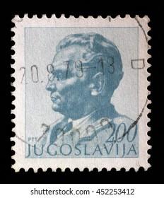 ZAGREB, CROATIA - JUNE 21: A stamp printed in Yugoslavia shows portrait of Marshal Josip Broz Tito, circa 1974, on June 21, 2014, Zagreb, Croatia