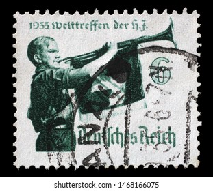 "ZAGREB, CROATIA - JUNE 22, 2014: A stamp issued in German Realm shows World Jamboree of ""Hitler Youth"", circa 1935."