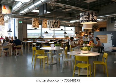 Zagreb, Croatia - June 22, 2017: People eating lunch at the Ikea department store in Zagreb, Croatia. Ikea is the world`s largest furniture retailer.