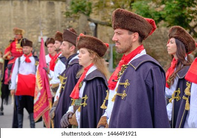Zagreb, Croatia - June 22, 2019 :  Close up of Royal Cravats Regiment soldiers at attention during the changing of the guard in front of Cathedral