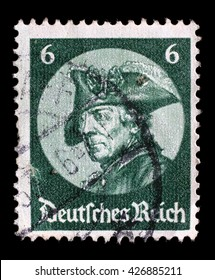ZAGREB, CROATIA - JUNE 22: A stamp printed in the German Reich shows Friedrich der Grosse, third Hohenzollern king, reigning over the Kingdom of Prussia, circa 1933, on June 22, 2014, Zagreb, Croatia
