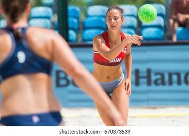 ZAGREb, CROATIA - JUNE 23, 2017: Euro 2017 Beach Handball. The Netherlands VS France (M). Laura Scegne Braun (42) passing the ball.