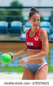ZAGREb, CROATIA - JUNE 23, 2017: Euro 2017 Beach Handball. The Netherlands VS France (M). Laura Scegne Braun (42) with the ball.