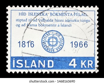 ZAGREB, CROATIA - JUNE 24, 2014: A stamp issued in Iceland shows the 150th Anniversary of the Icelandic Literary Society, circa 1966.