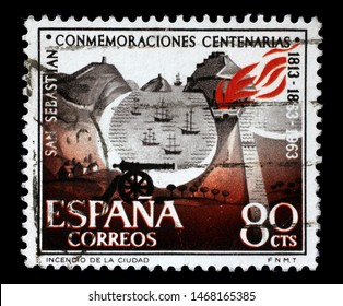 ZAGREB, CROATIA - JUNE 24, 2014: A stamp issued in Spain shows 150th Anniversary of San Sebastian, circa 1963.