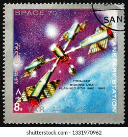 ZAGREB, CROATIA - JUNE 25, 2015: a stamp printed in Yemen Arab Republic shows interplanetary station, project Boeing planned for 1980-1985, circa 1970
