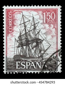"ZAGREB, CROATIA - JUNE 25: A stamp printed in Spain from the ""Spanish Navy Commemoration. Ships"" issue shows Corvette Atrevida, circa 1964, on June 25, 2014, Zagreb, Croatia"