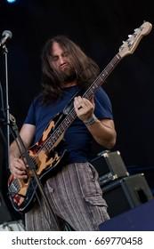 ZAGREB, CROATIA - JUNE 27, 2017: Zagreb Rockfest. Hard Time band bass guitar player Majkl Jagunic