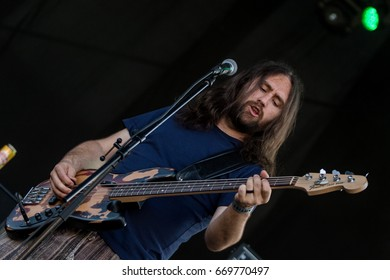 ZAGREB, CROATIA - JUNE 27, 2017: Zagreb Rockfest. Hard Time band bass guitar player Majkl Jagunic