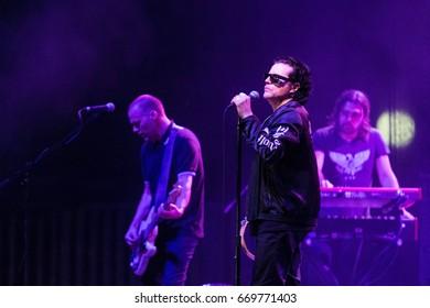 ZAGREB, CROATIA - JUNE 27, 2017: Zagreb Rockfest. The Cult band lead singer Ian Astbury on stage during the Rock Fest in Zagreb, Croatia