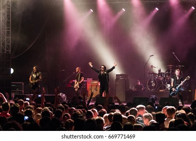 ZAGREB, CROATIA - JUNE 27, 2017: Zagreb Rockfest. The Cult band on stage during the Rock Fest in Zagreb, Croatia