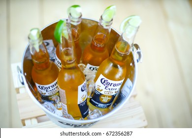 ZAGREB, CROATIA - JUNE 28, 2017 : A Corona bowl full of Corona Extra beer bottles on the Corona Sunsets Session party on the roof of Zagreb Dance Center in center of Zagreb, Croatia.