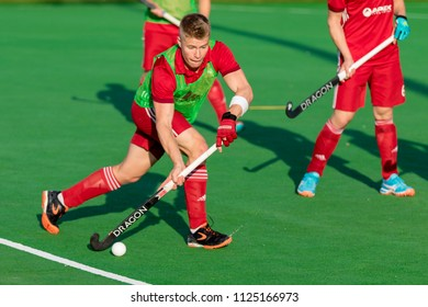 ZAGREB, CROATIA - JUNE 28, 2018: Hockey Series Open in Croatia 2018. Match between Switzerland and Wales (1-7). Field Hockey players in action